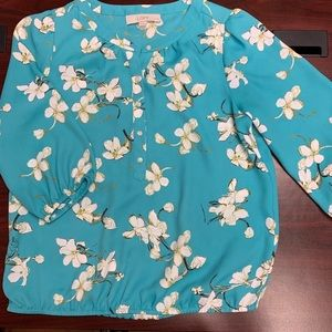 Loft blue floral blouse